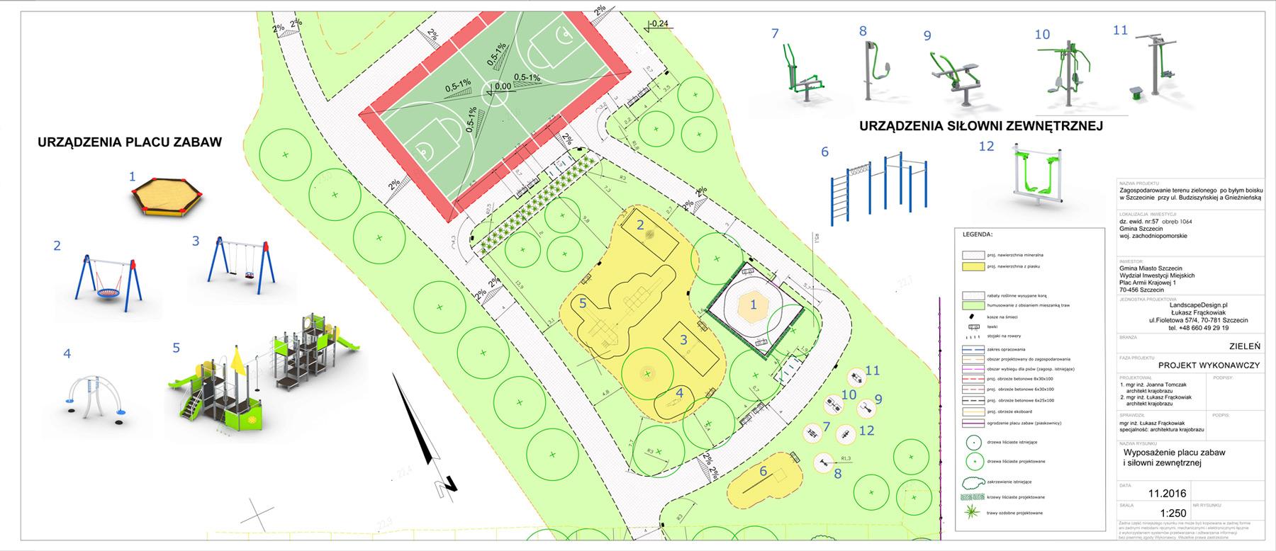 Wyposażenie terenu parku Szczecinie