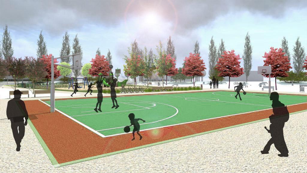 Park przy ul. Budziszyńskiej w Szczecinie - boisko do koszykówki
