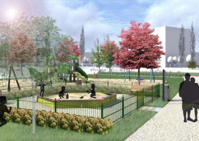 Park przy ul. Budziszyńskiej w Szczecinie - widok na plac zabaw