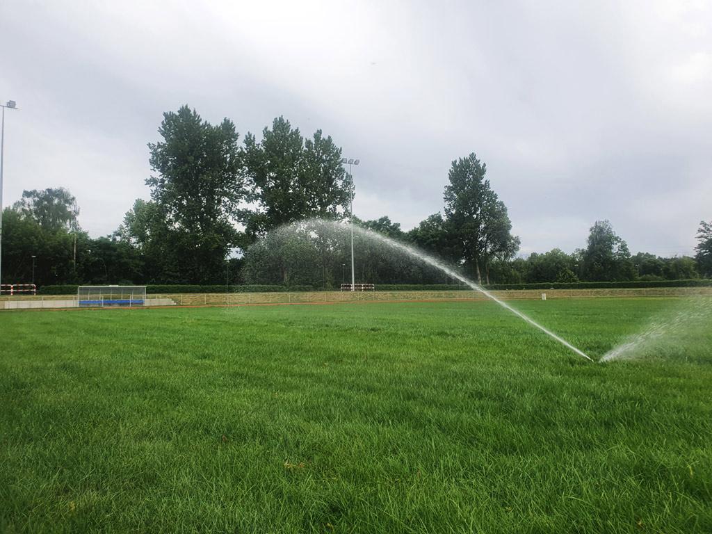 Budowa systemu nawadniania i regeneracja murawy na boisku sportowym w Pile
